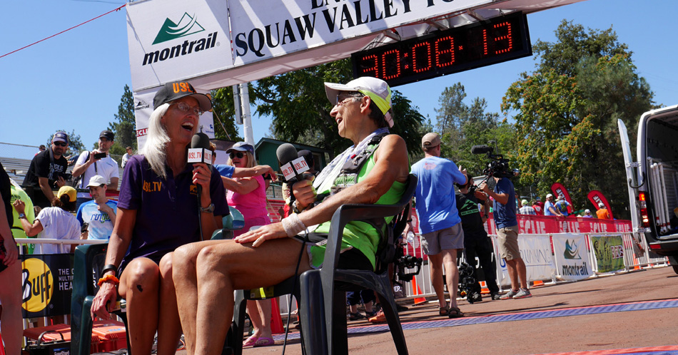 """Erin Beck interviewing Gunhild Swanson at the finish of the Western States 100 Mile Endurance Run<!-- 2015-->"""